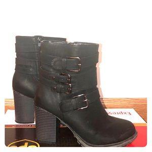 Seven dials high heel combat boots